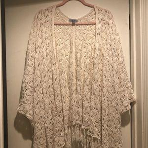 Beautiful Olivia Sky Crochet Kimono